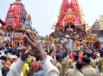 Devotees at Puri Rathayatra on Sunday.