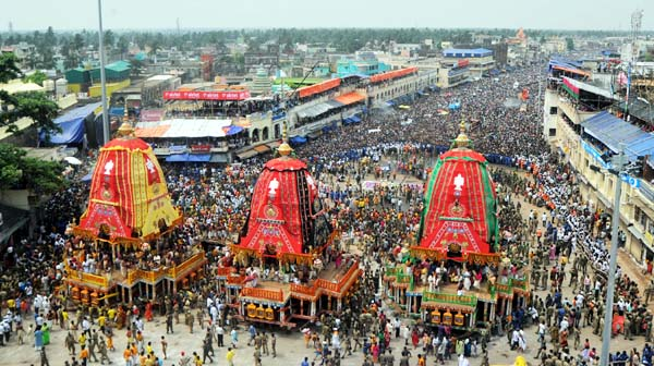 Three chariots ready for pulling at Puri on Sunday,